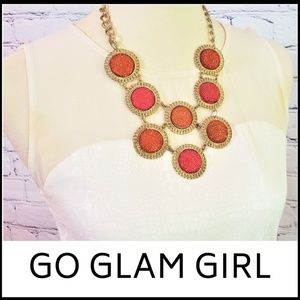 NWT Orange Round Spherical Statement Necklace